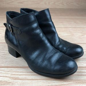BORN Black Buckle Round Toe Booties